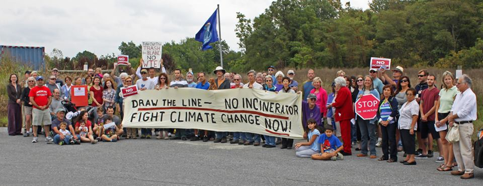 """Most of the 80 or so people who came out to the Rally to Draw The Line At """"Waste To Energy"""" Incinerator (at the site of proposed incinerator) on September 21, 2013."""