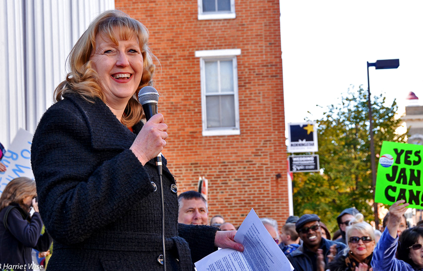 Jan Gardner speaking to an enthusiastic crowd of supporters at her rally to  launch her campaign for Frederick County Executive (photo by Harriet Wise)