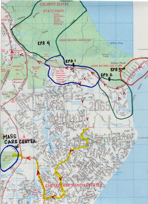 Lusby evacuation map (click on the map to open a larger version).