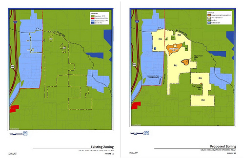 """Current zoning is agricultural (via draft Lilac Hills Ranch specific plan)proposed zoning change ro """"residential urban"""" (via draft Lilac Hills Ranch Specific Plan)"""